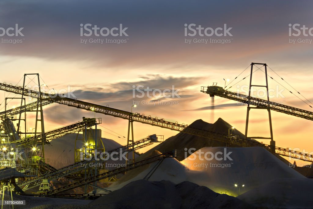 Sand Plant Conveyor Belts With Moody Sky stock photo