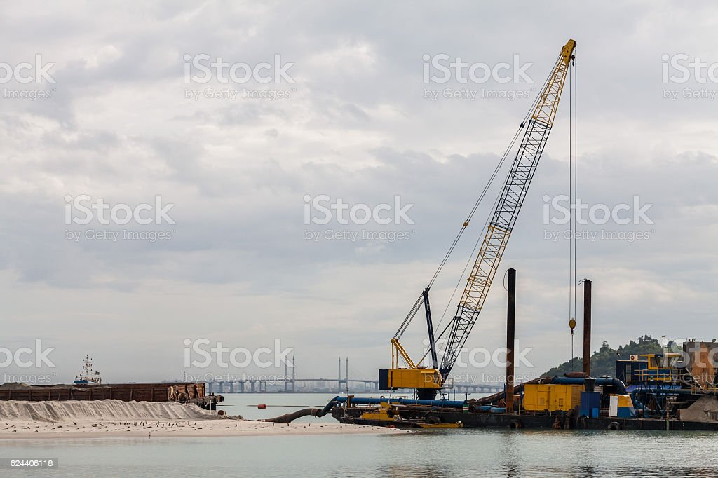 Sand replenishment ship for land reclamation stock photo