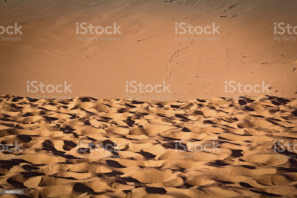 Sand ripples and footprints in the Desert royalty-free stock photo