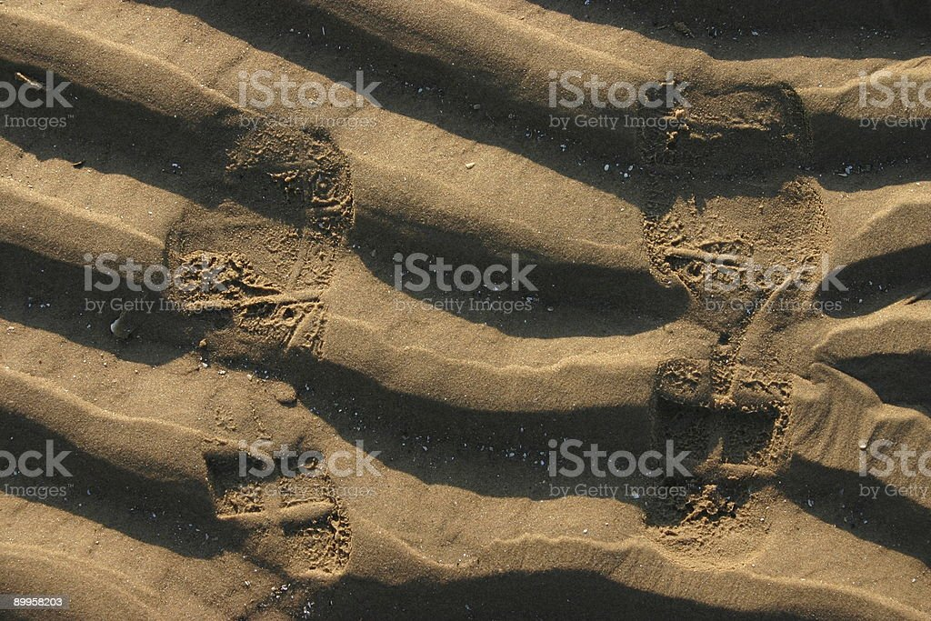 Sand Ripples & Shoe Prints stock photo