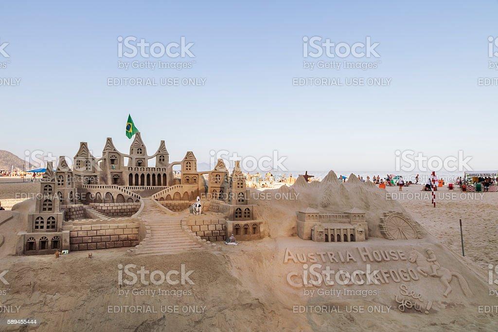 Sand sculpture in Copacabana Beach stock photo