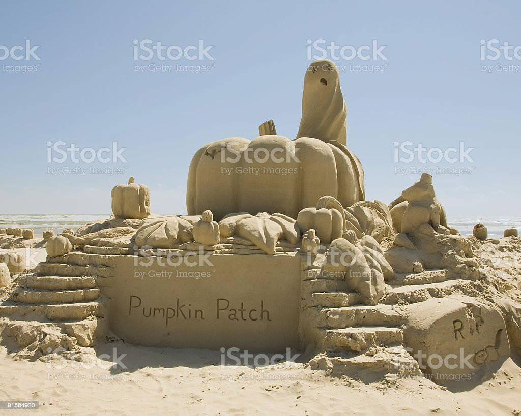 sand sculpture of pumpkin patch stock photo