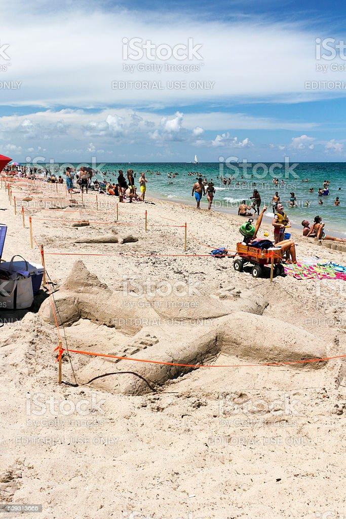 Sand Sculptures on the Beach stock photo