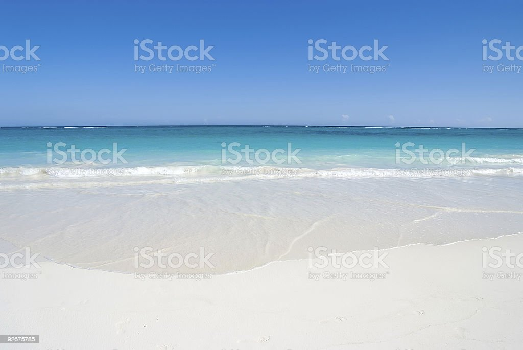 Sand, sea and blue sky royalty-free stock photo