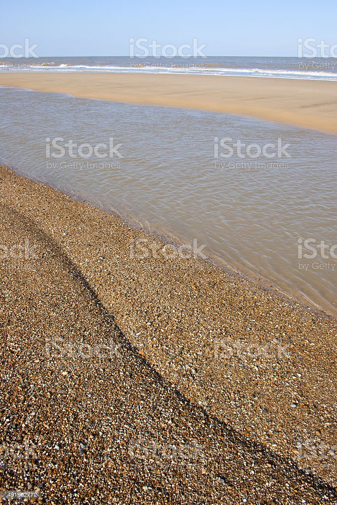 Sand, sea and shingle at Sizewell beach, Suffolk stock photo