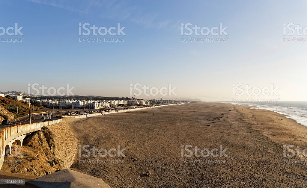 Sand shore and ocean in San Francisco royalty-free stock photo
