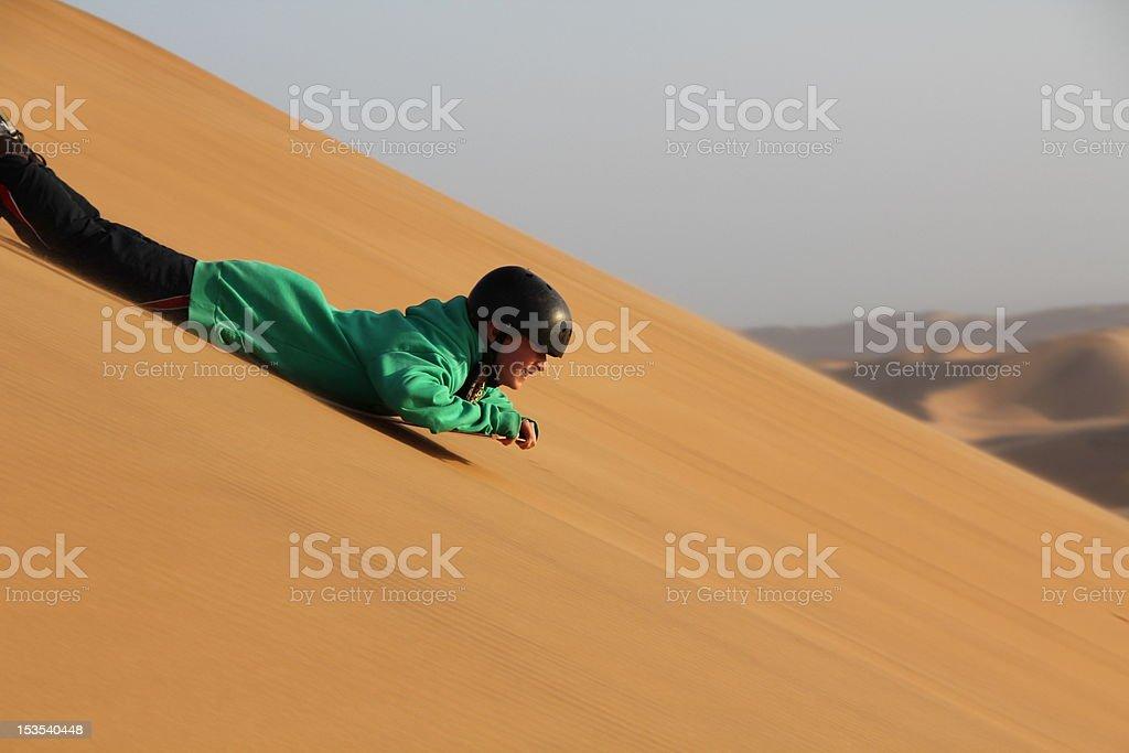 Sand- Sledding  Namibia stock photo