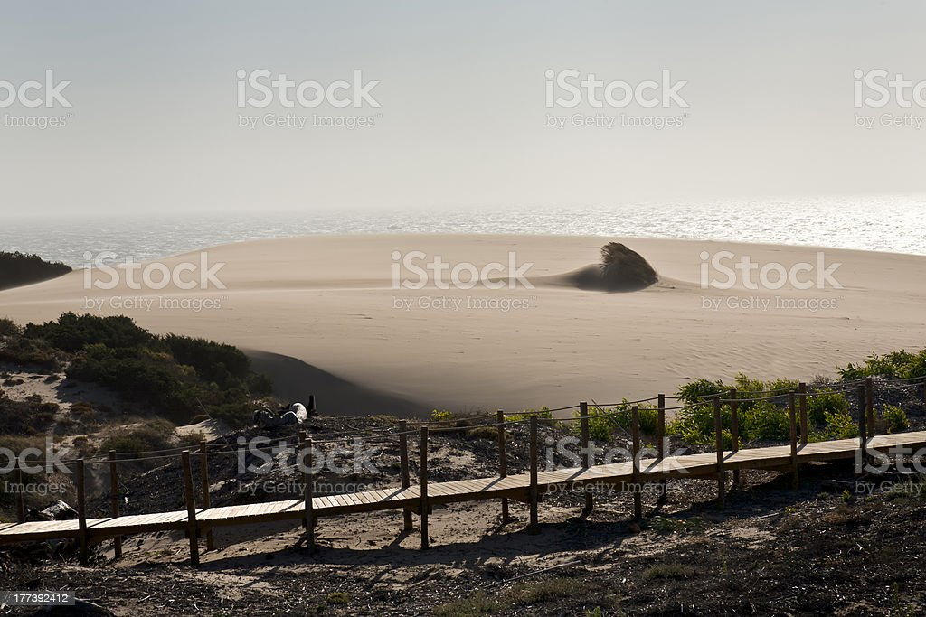 Sand storm at Guincho beach in Cascais, Portugal stock photo