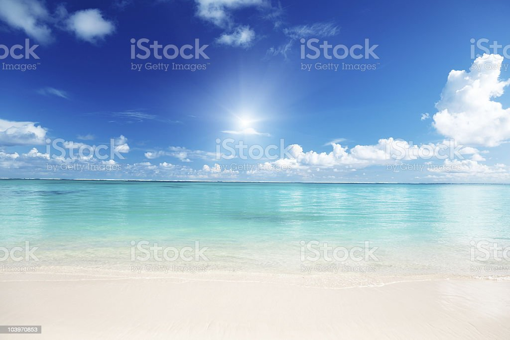 Sand, the Caribbean Sea and a blue sky royalty-free stock photo