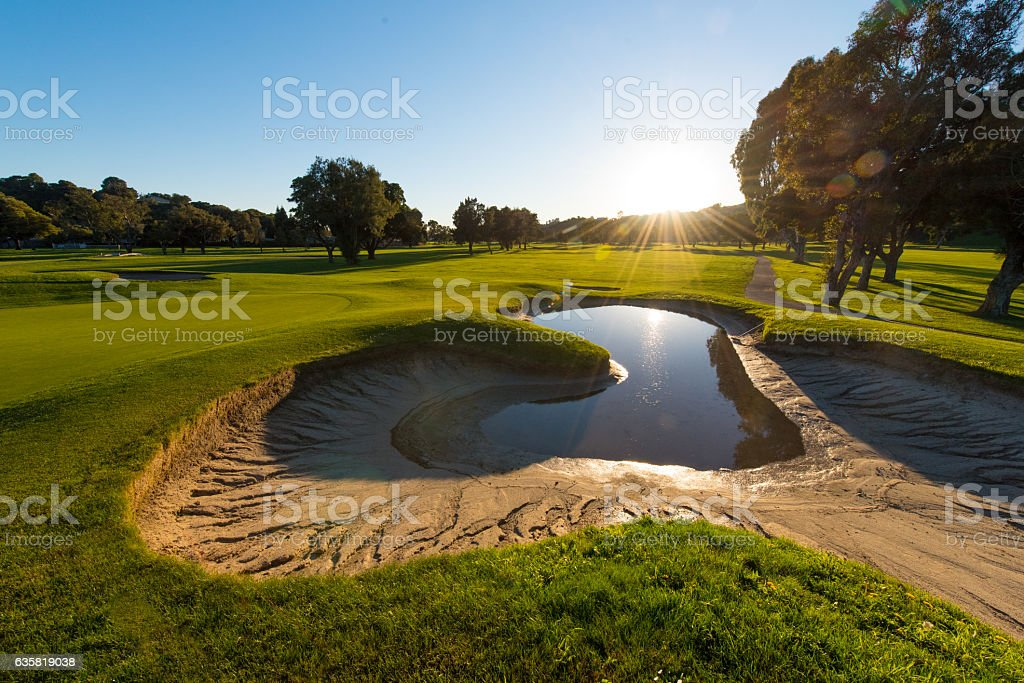 Sand trap full of cracks and water by a green stock photo