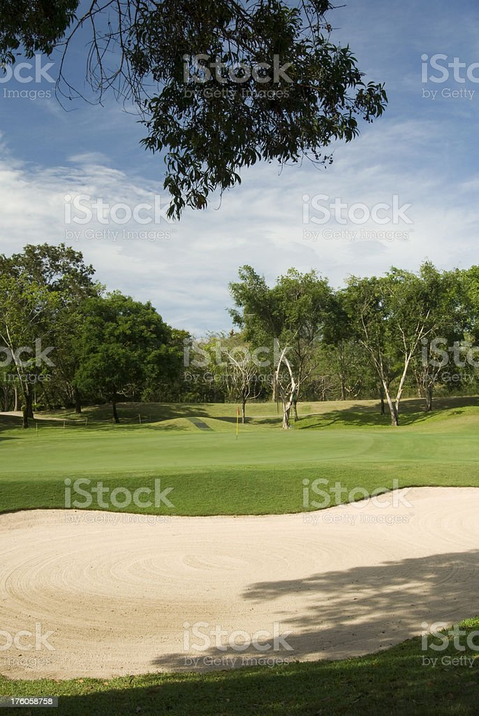 Sand trap in a tropical golf course in Thailand royalty-free stock photo