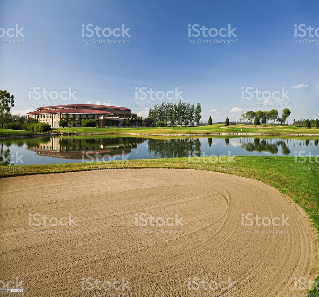 Sand trap of the golf course royalty-free stock photo
