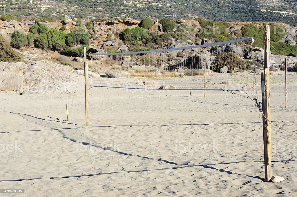 Sand volleyball net on the beach royalty-free stock photo
