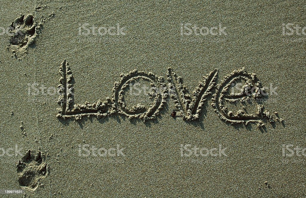 Sand Writing - Love With Dog Pawprints royalty-free stock photo