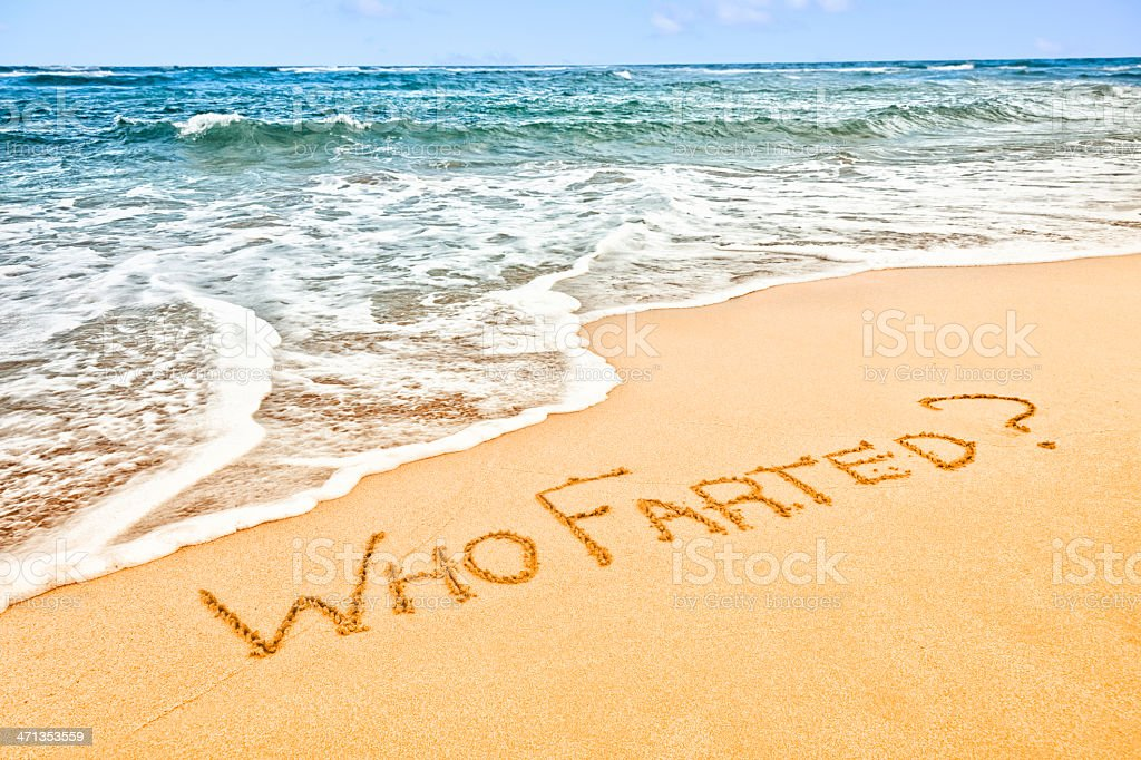 Sand Writing on Beach: Who Farted? stock photo