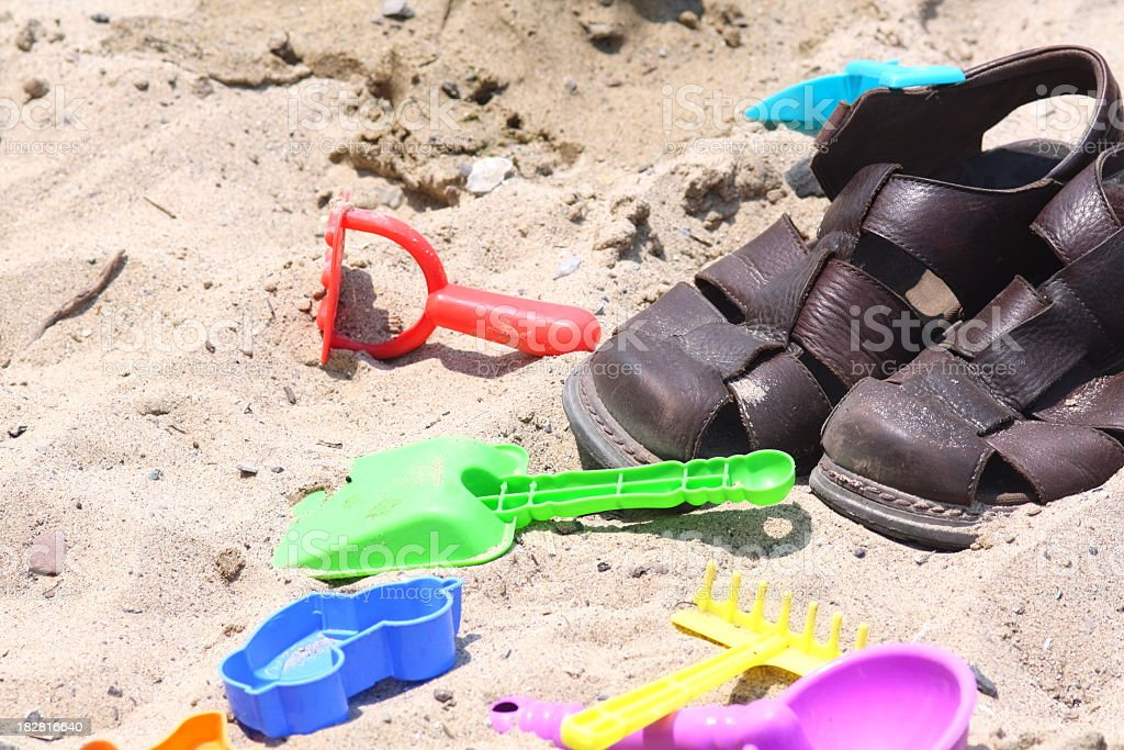 Sandals and Sand Toys stock photo