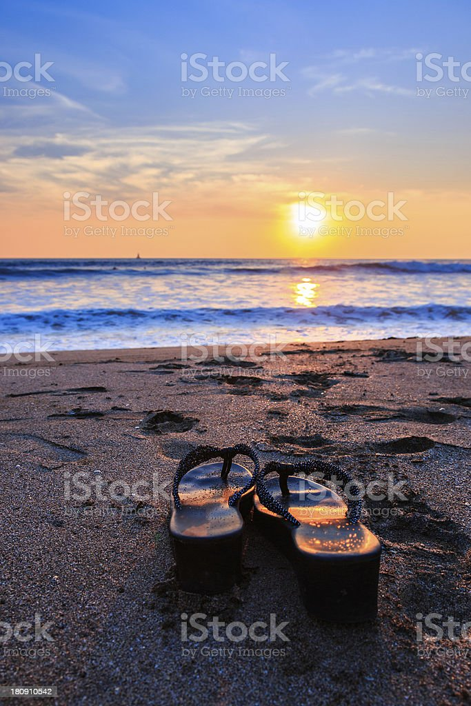 Sandals at Sunset stock photo