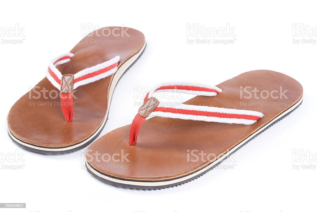 sandals on a white background royalty-free stock photo
