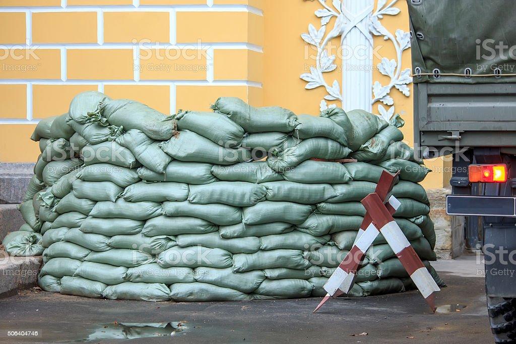 Sandbag bunker of the military base stock photo