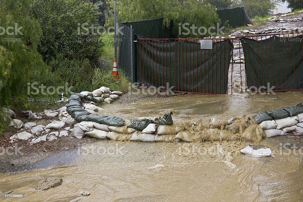 Sandbags and a Gate royalty-free stock photo