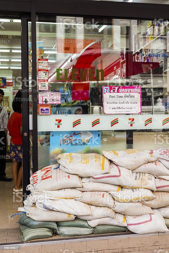 Sandbags at 7-11 Bangkok, Thailand royalty-free stock photo
