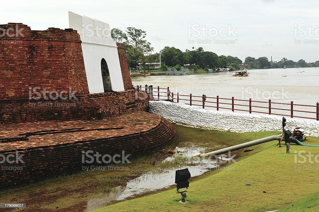 sandbags to protect ancient ruins in Ayuttaya, Thailand during t royalty-free stock photo