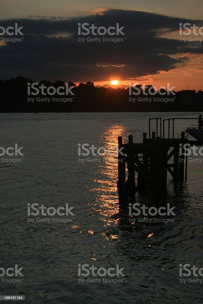 Sandbanks Angry Sunset stock photo