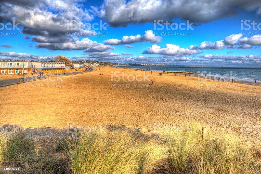 Sandbanks beach Poole Dorset England UK like painting in HDR stock photo