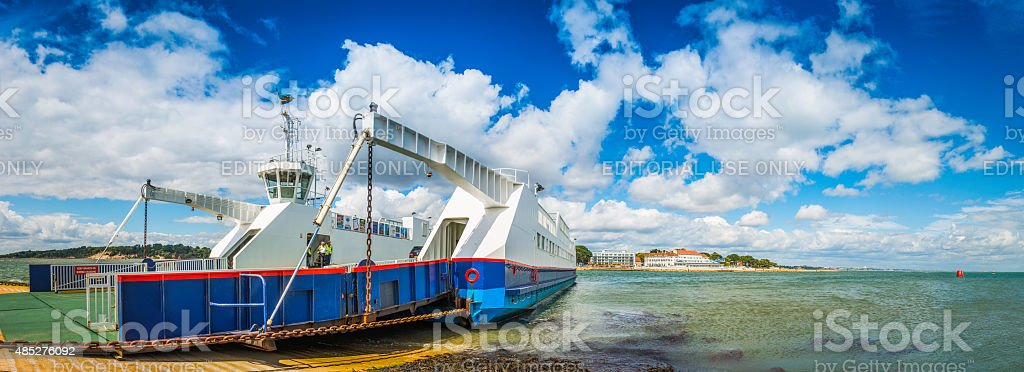 Sandbanks ferry across Poole harbour from Bournemouth to Studland Dorset stock photo