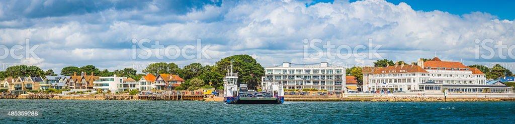 Sandbanks ferry across Poole harbour hotels luxury homes panorama Dorset stock photo