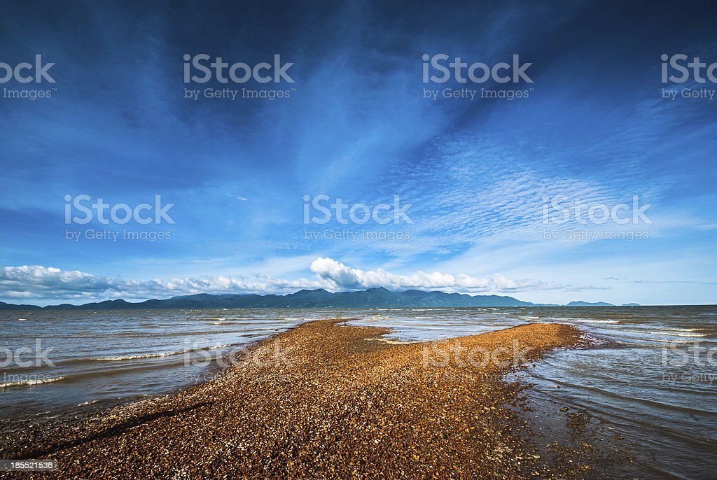 Sandbar opposite the island royalty-free stock photo