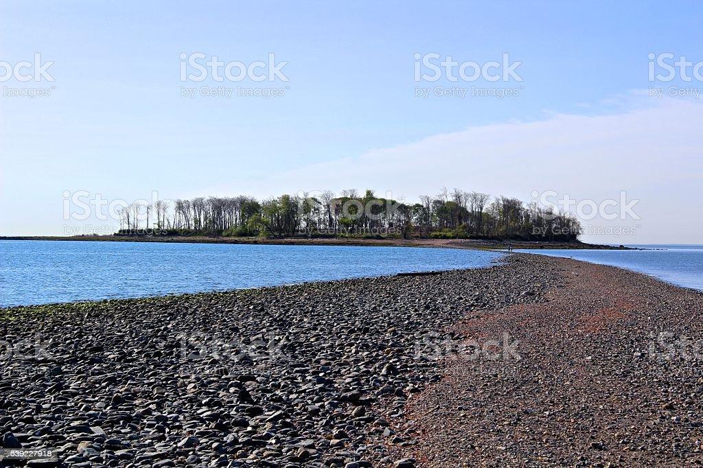 Sandbar to Charles Island stock photo