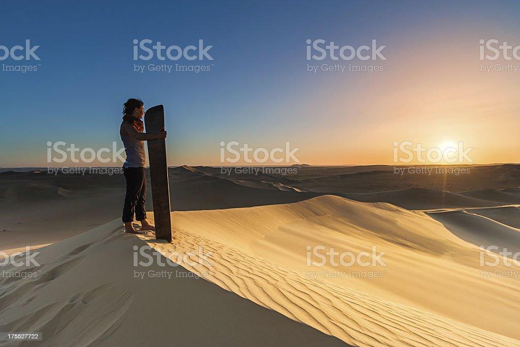 Sandboarding in The Sahara Desert, Africa stock photo