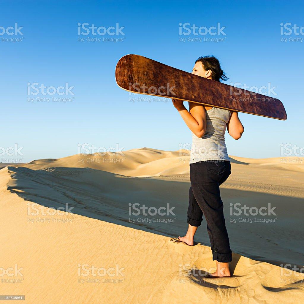 Sandboarding in The Sahara Desert, Africa royalty-free stock photo