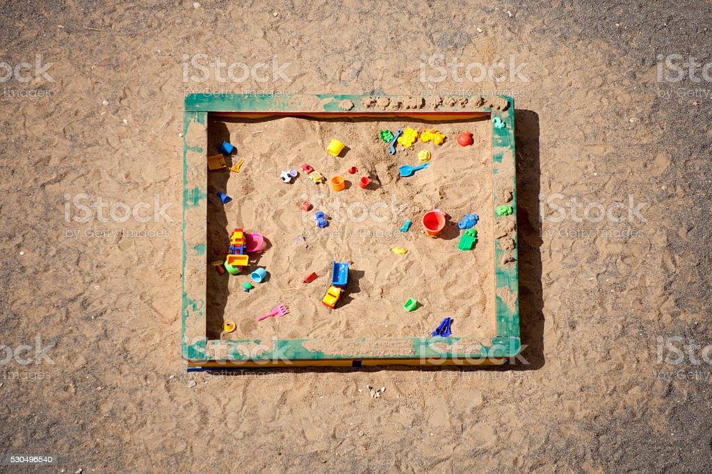 Sandbox. Top view stock photo