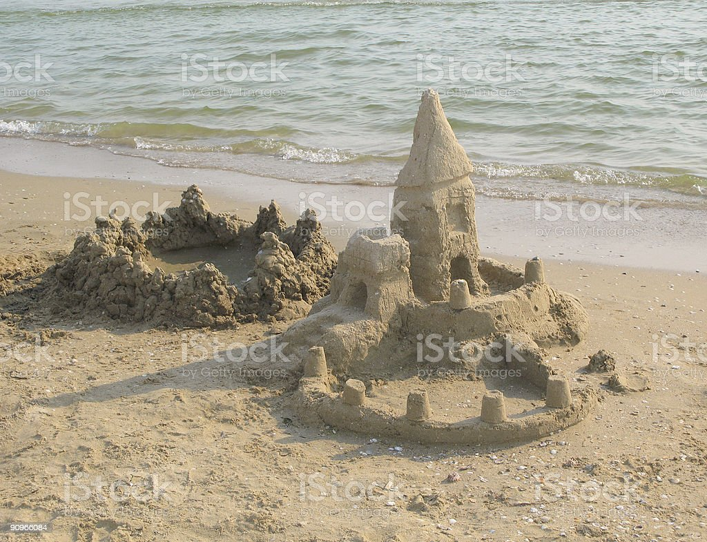 Sandcastle at the sea royalty-free stock photo