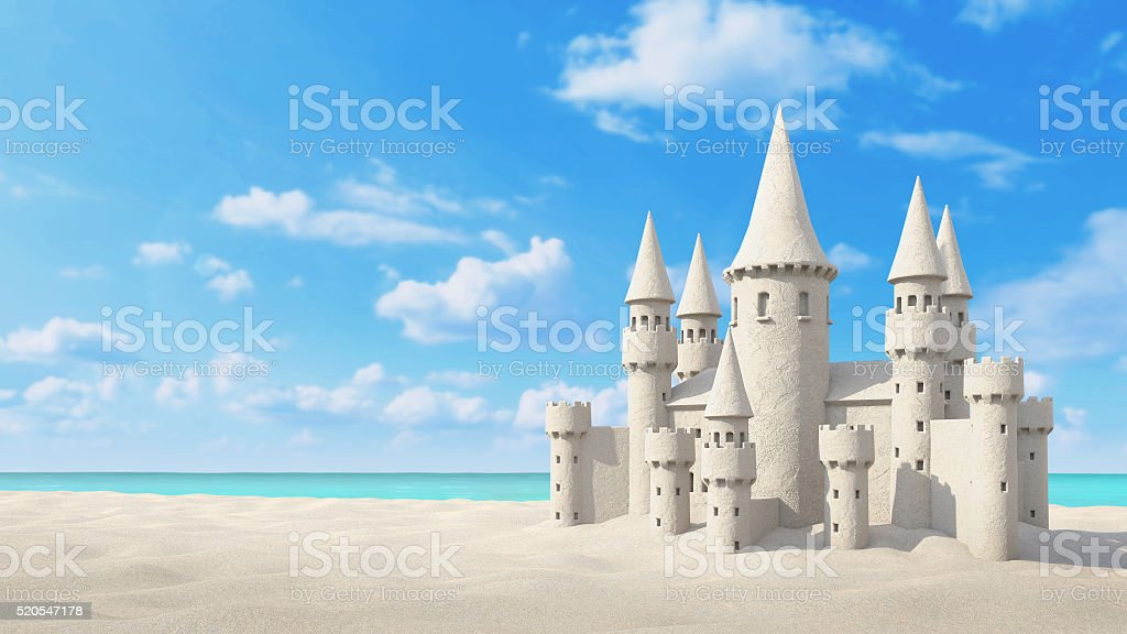 Sandcastle beach on bright sky. 3d rendering stock photo