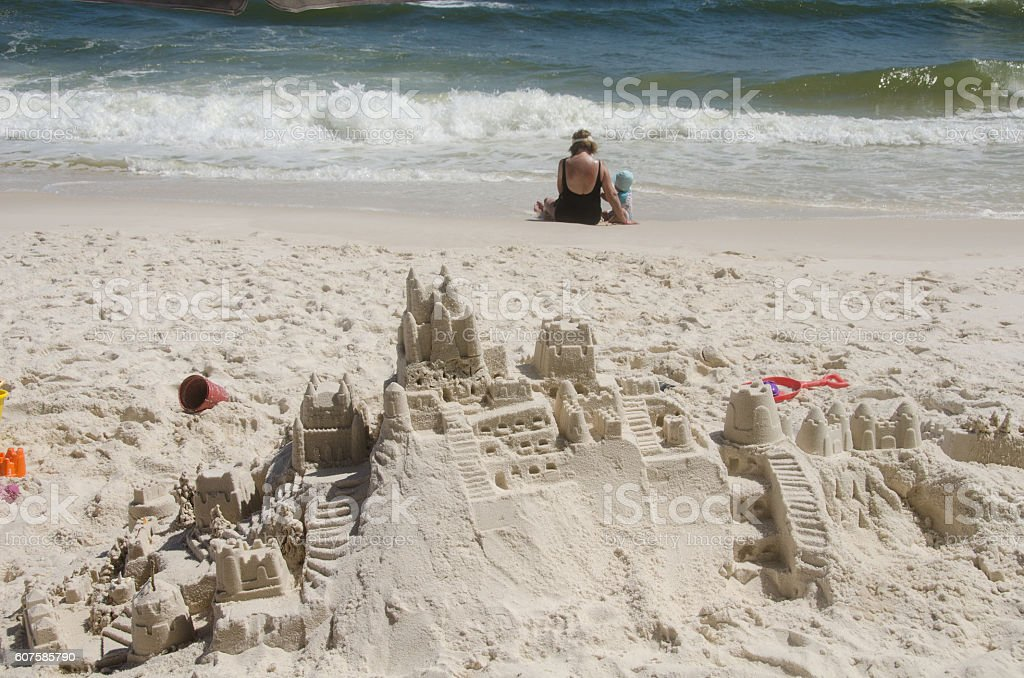 Sandcastle Finished Time to Play stock photo