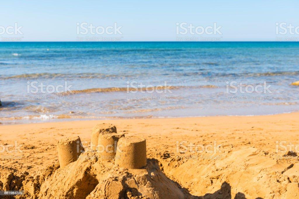 Sandcastle on Ramla bay on Gozo island, Malta stock photo
