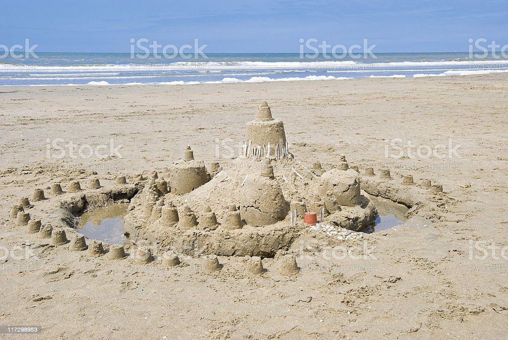 Sandcastle on the beach royalty-free stock photo
