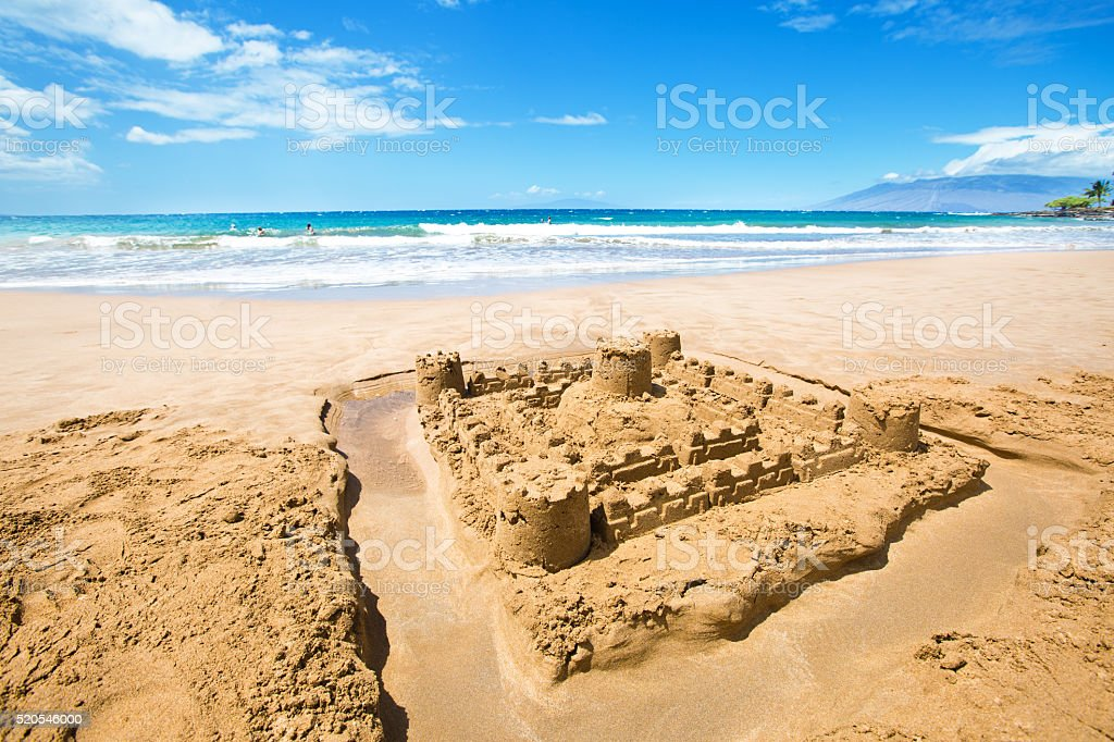 Sandcastle on Wailea Beach on Southwest Shore of Maui Hawaii stock photo