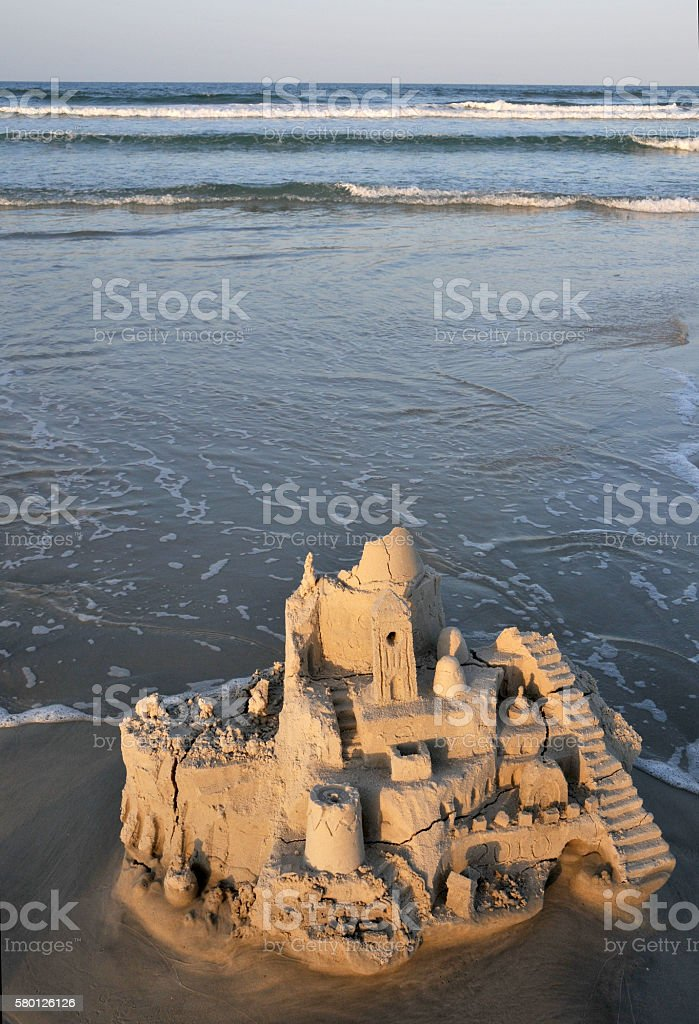 Sandcastle Ruins At Sunset stock photo
