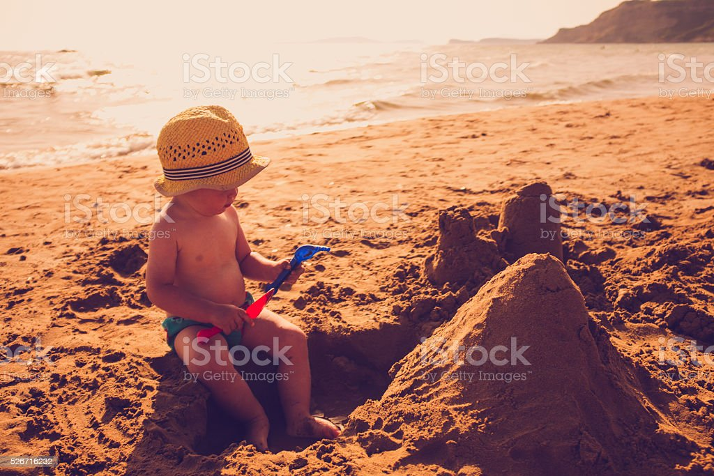 Sandcastles stock photo