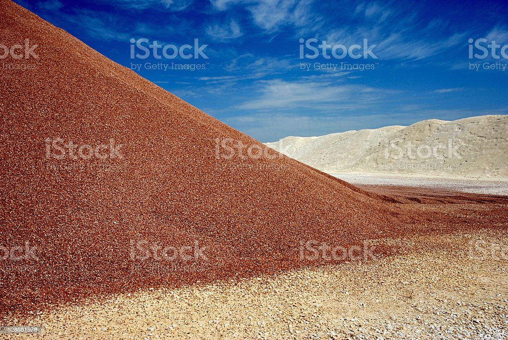 sandheap in mine stock photo