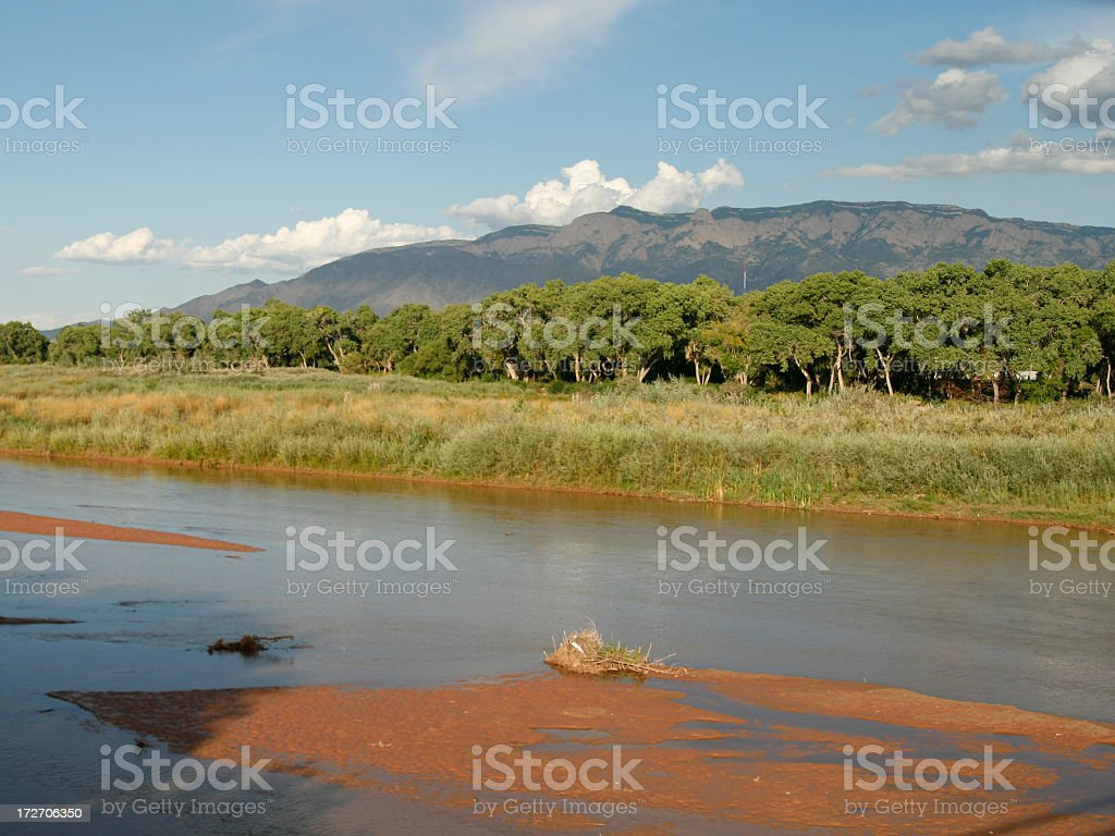 Sandia Mountain & Rio Grande royalty-free stock photo