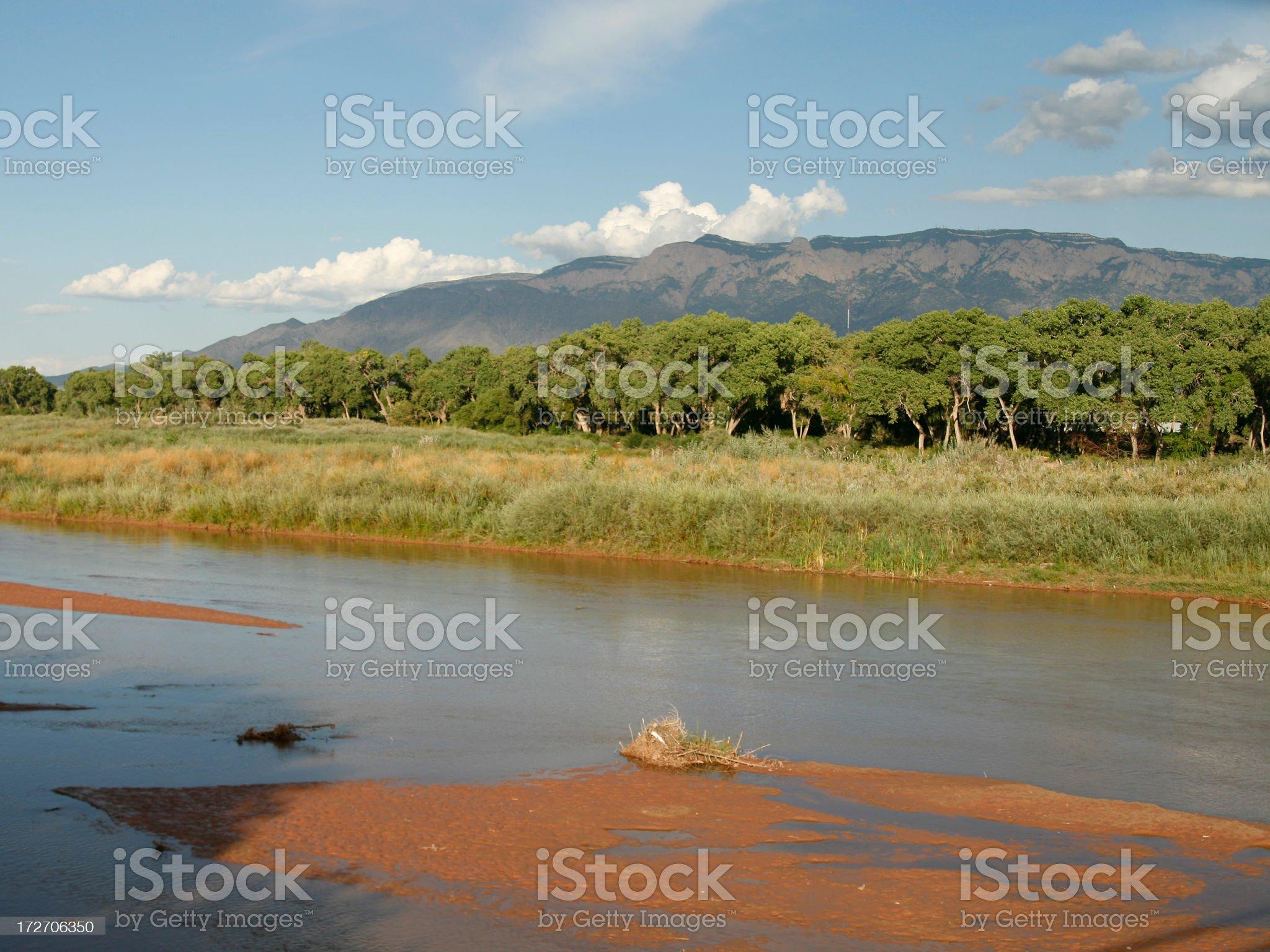Sandia Mountain & Rio Grande royalty-free stock photo
