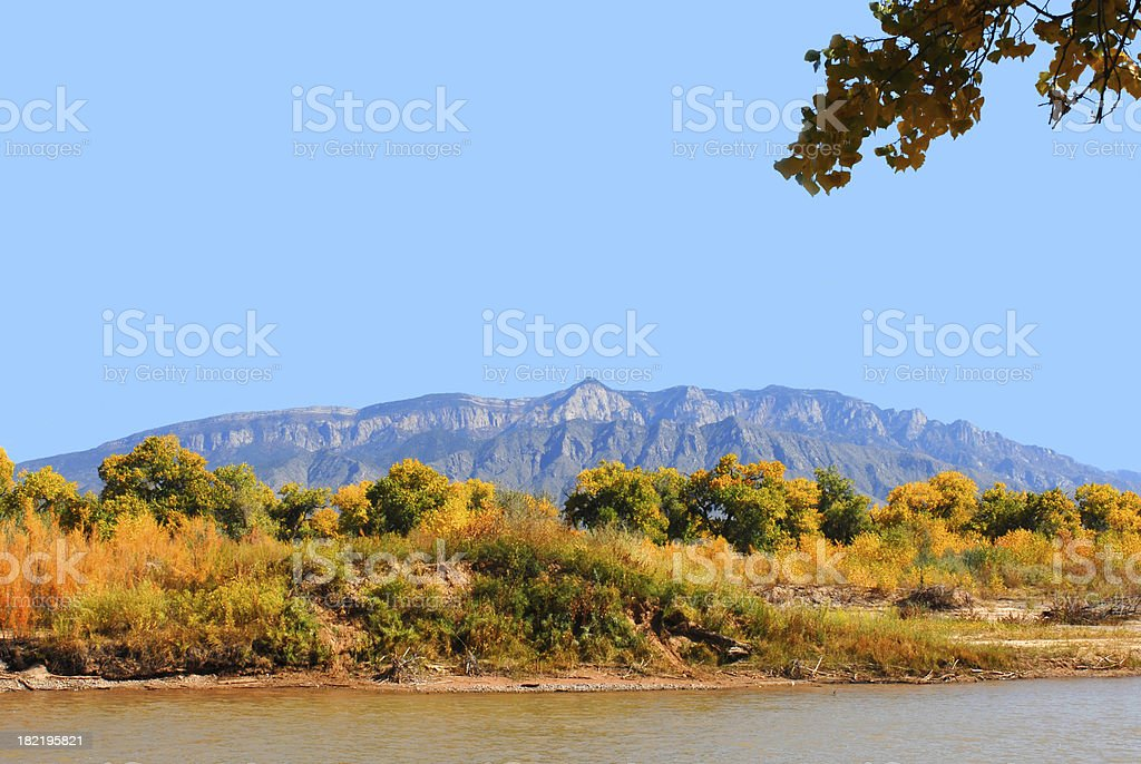 Sandia Mountains and the Bosque stock photo