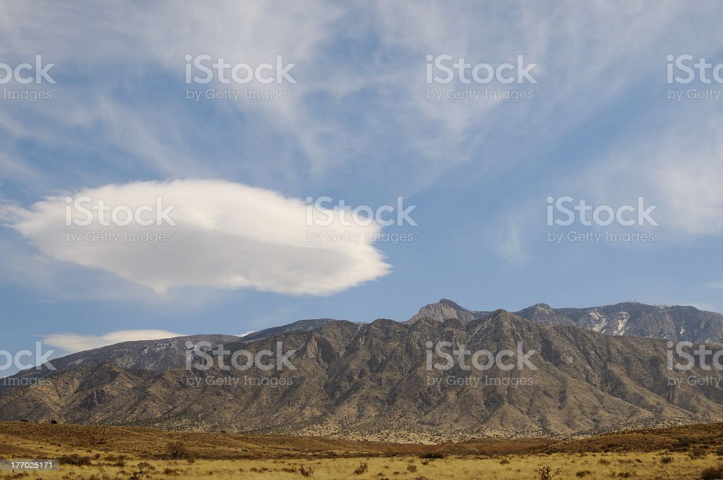 Sandia Mountains and the Rio Grande Valley royalty-free stock photo