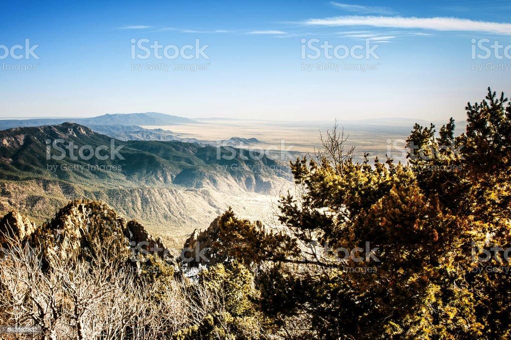 Sandia Mountains - View from the Sandia Crest stock photo