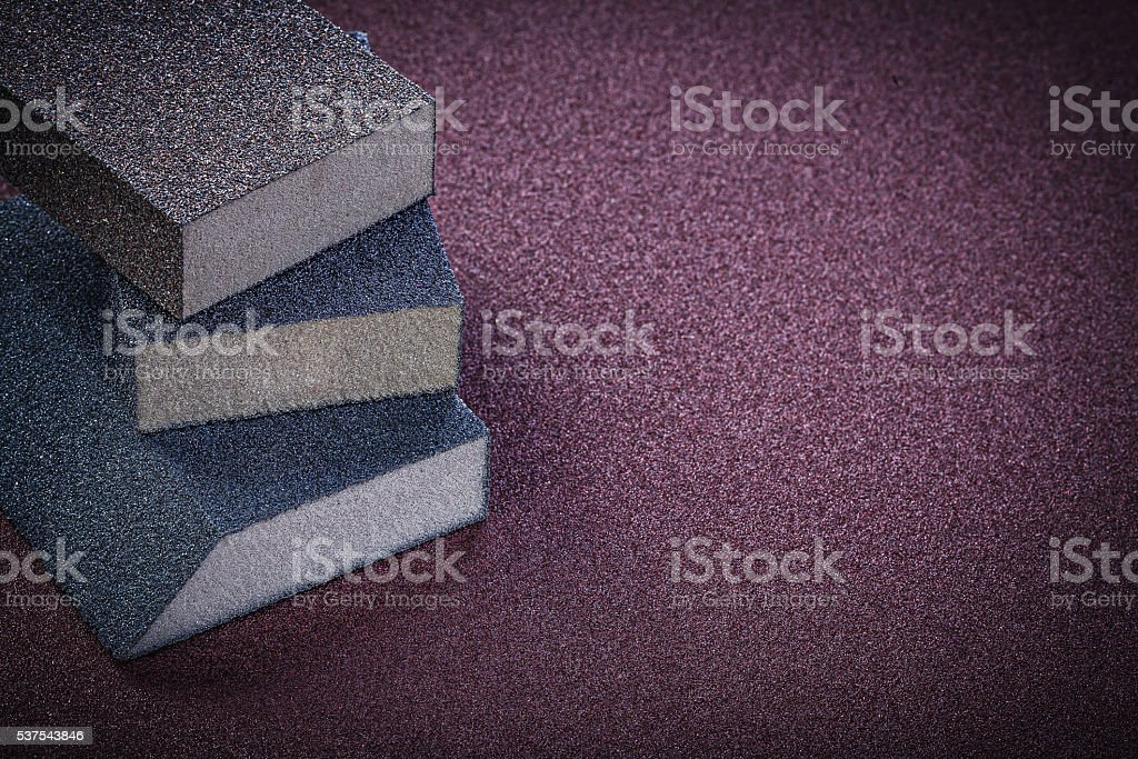 Sanding sponges on emery paper copy space abrasive tools stock photo